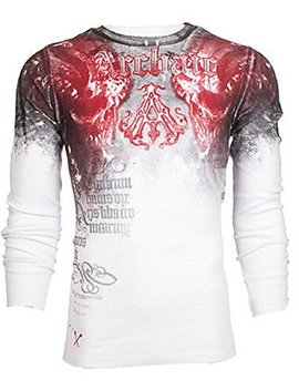 Affliction  Archaic Men Thermal T Shirt Nightwatcher Skulls Biker Ufc by Affliction