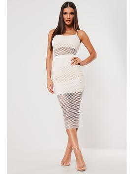Sxf X Missguided White Fishnet Strappy Midaxi Dress by Missguided