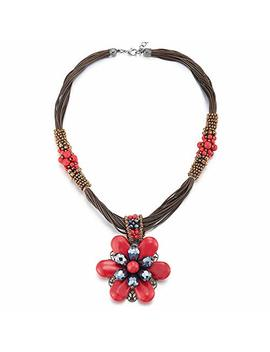 Coolsteelandbeyond Large Statement Flower Necklace Multi Strand Collar Red Blue Gem Stone Dangle Pendant, Party by Coolsteelandbeyond