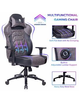 Killabee Gaming Chair Racing Office Chair   Adjustable Built In Lumbar Support And Back Angle Ergonomic High Back Leather Computer Desk Executive Swivel Chair With Wide Flat Seat And Metal Base, Gray by Killabee