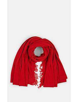 Virgin Wool Fringed Blanket Scarf by Rick Owens