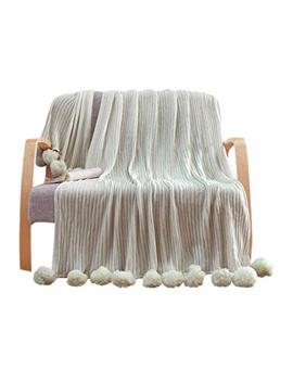"Liferevo 100% Cotton Hypoallergenic Striped Cable Knitted Throw Blanket Pompoms Fringe Solid   Grey / 39""X59\ by Liferevo"