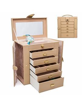 Hezala Large Jewelry Organizer   6 Layer   Protoplasm Pu Leather Jewelry Box For Women, Lockable Mirrored Storage Case, Beige by Hezala