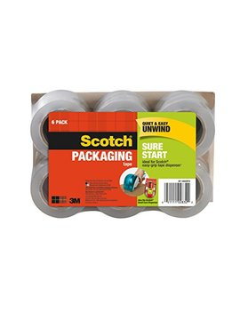 Scotch Dp 1000 Rf6 Sure Start Packaging Tape, 1.88 Inches X 900 Inches, 1 1/2 Inch Core, Pack Of 6 by Scotch Brand