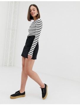 Monki Ribbed Crew Neck Top In Stripe by Monki