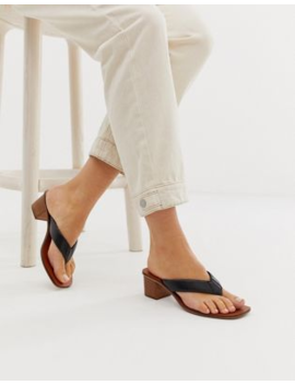 Asos Design Timeless Leather Thong Sandals In Black by Asos Design