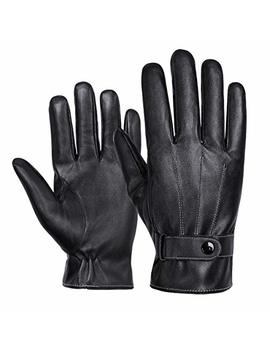 Wheel Up Winter Luxury Nappa Leather Gloves For Men   Business   Touchscreen   Waterproof   Cold Weather   Fleece Lining   Driving   Commuting (Free Size) by Wheel Up