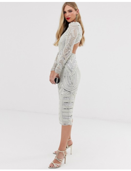 Asos Edition Sequin And Pearl Midi Bodycon Dress With Cut Out Back by Asos Edition