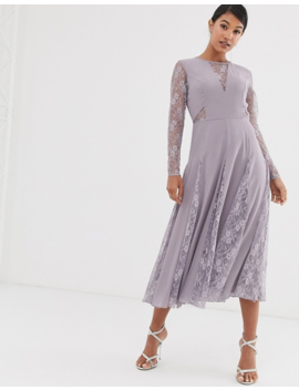 Asos Design Midi Dress With Long Sleeve And Lace Paneled Bodice by Asos Design