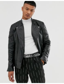 Asos Design Leather Racer Jacket In Black With Quilted Lining by Asos Design