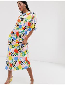 Asos Design Asymmetric Sleeve Maxi Dress In Bright Floral Print by Asos Design