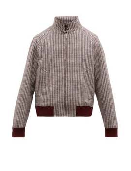 Checked Virgin Wool Harrington Jacket by Prada