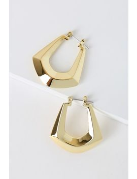 Forever Fierce Gold Faceted Hoop Earrings by Lulus X Luvaj