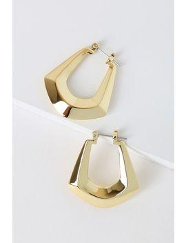 Forever Fierce Gold Faceted Hoop Earrings by Lulus X Luvaj