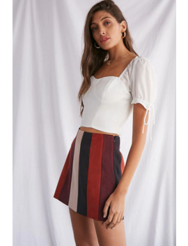 Faux Suede Striped Skirt by Forever 21