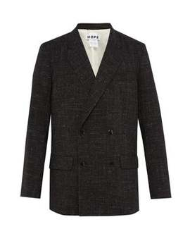 Contrast Stitch Wool Blend Blazer by Hope
