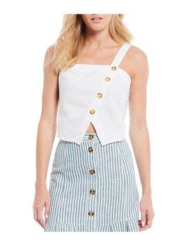 Asymmetrical Button Front Linen Crop Top by Chelsea &Amp; Violet
