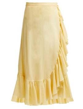 Ruffle Trim Cotton Midi Skirt by Loup Charmant