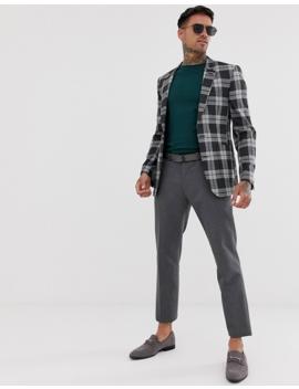 Asos Design Skinny Blazer In Gray Check by Asos Design