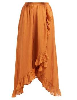Otello Ruffled Asymmetric Cotton Skirt by Mes Demoiselles