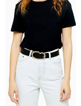 Black Textured Logo Belt by Topshop
