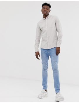 Asos Design Tall Casual Slim Oxford Shirt In Ecru by Asos Design