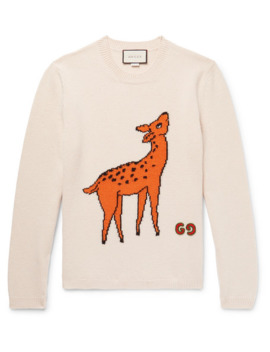 Slim Fit Logo Appliquéd Intarsia Wool Sweater by Gucci