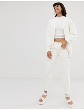Monki Knitted Tie Waist Longline Cardigan In White by Monki
