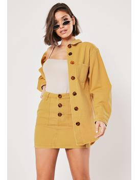 Mustard Co Ord Button Through Denim Shirt by Missguided