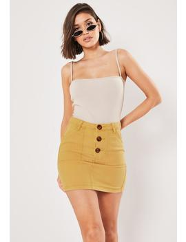 Mustard Co Ord Button Through Denim Skirt by Missguided