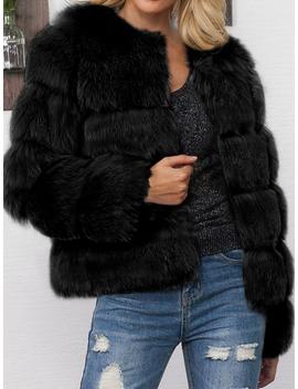 Black Faux Fur Long Sleeve Chic Women Coat by Choies