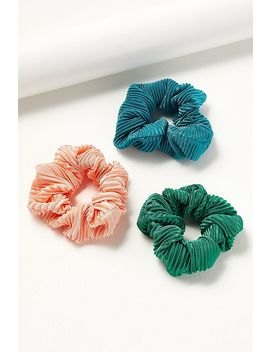 Pack Of 3 Neon Pleated Scrunchies by Anthropologie