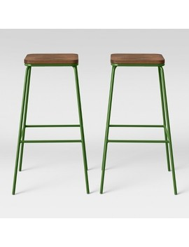 Set Of 2 Rhodes Metal/Wood Barstool Green   Project 62 by Project 62