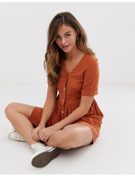 New Look Button Through Smock Dress In Rust by New Look