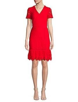 V Neck Lace Flounce Hem Dress by Karl Lagerfeld Paris