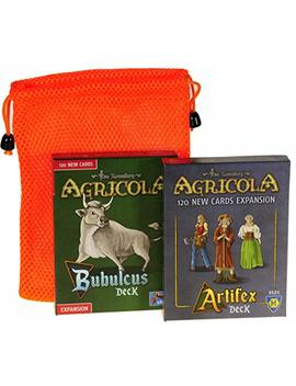 Bubulcus & Artifex Expansion Decks For Agricola Game || With Orange Mesh Drawstring Storage Pouch || Bundled Items by Lkg Games