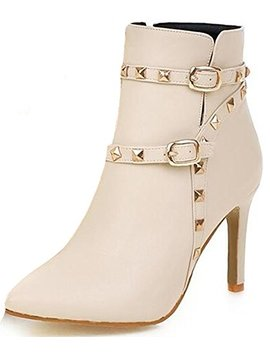 Summerwhisper Women's Sexy Rivets Studded Strappy Buckle Club Booties Pointed Toe Stiletto High Heel Size Zipper Ankle Boots by Summerwhisper