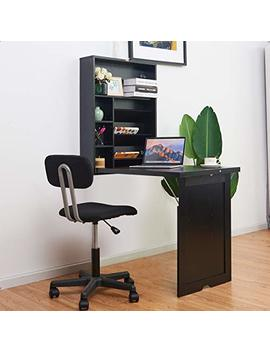 Tangkula Wall Mounted Table, Fold Out Multi Function Computer Desk, Convertible Desk Writing Desk Home Office Wood Convertible Desk; Large Storage Area (Black) by Tangkula