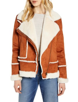 Faux Shearling Moto Jacket by Halogen®