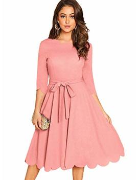 Milumia Women's 3/4 Sleeve Belted Knee Length Fit & Flare Scallop Dress by Milumia