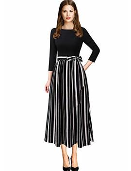 Vfshow Womens Elegant Patchwork Pockets Print Work Casual A Line Midi Dress by Vfshow