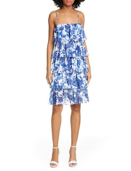 Floral Print Tiered Ruffle Dress by Caroline Constas