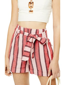Stripe Linen Blend Shorts by Topshop