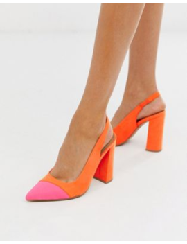 Asos Design Password Slingback High Block Heels In Orange And Pink by Asos Design