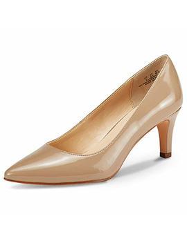 Jenn Ardor Women's Low Heels Ladies Closed Pointed Toe Slip On Mid Kitten Heel Dress Party Pumps by Jenn Ardor