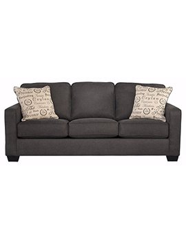 Ashley Furniture Signature Design   Alenya Sofa With 2 Throw Pillows   Microfiber Upholstery   Vintage Casual   Charcoal by Signature Design By Ashley