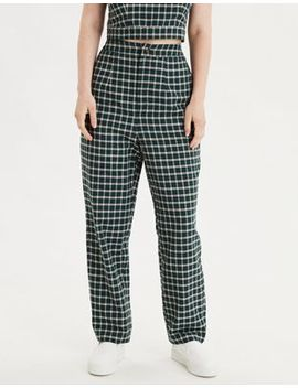Ae High Waisted Plaid Button Front Pant by American Eagle Outfitters