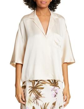 Short Sleeve Silk Pajama Shirt by Vince