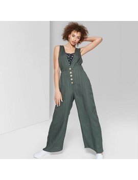 Women's Striped Sleeveless Deep V Neck Button Front Jumpsuit   Wild Fable by Neck Button Front Jumpsuit
