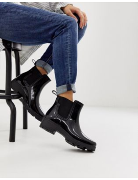 London Rebel Chunky Chelsea Welly In Black by Boots